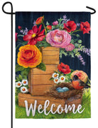 Floral Boxes and Robin's Nest Suede Reflections Garden Flag