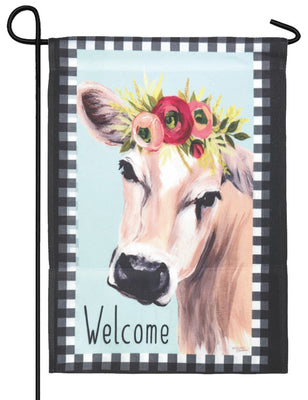Floral Cow Welcome Garden Flag