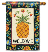 Floral Fall Pineapple House Flag