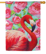 Floral Flamingo Suede Reflections House Flag