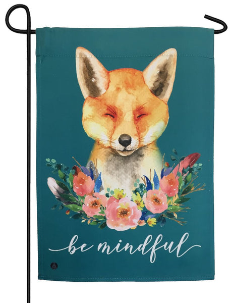 Floral Fox Suede Reflections Garden Flag - All Decorative Flags/Themes/Animal Flags/Wildlife - Other Animal Flags - I AmEricas Flags