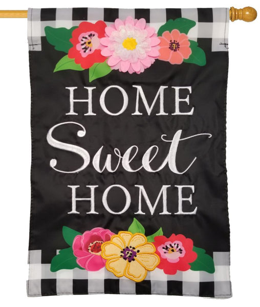 Floral Home Sweet Home Applique House Flag - I AmEricas Flags