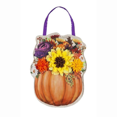 Floral Pumpkin Decorative Door Hanger