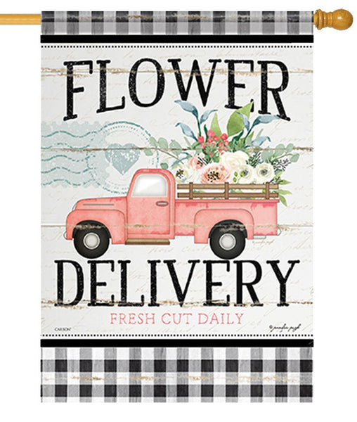 Flower Delivery Truck House Flag - I AmEricas Flags
