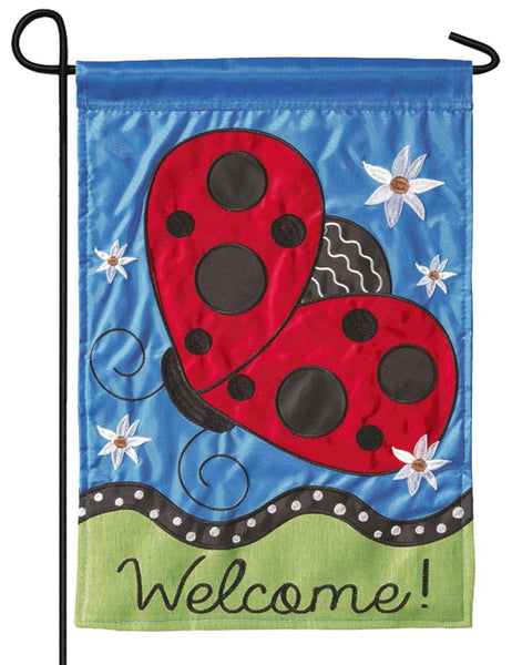 Flying Ladybug Double Applique Garden Flag
