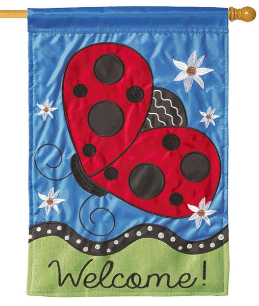 Flying Ladybug Double Applique House Flag