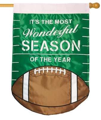 Football Most Wonderful Season Double Applique House Flag