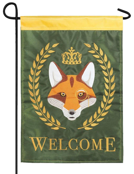 Fox Crown Welcome Double Applique Garden Flag - I AmEricas Flags