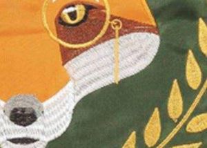 Fox Crown Welcome Double Applique House Flag Detail