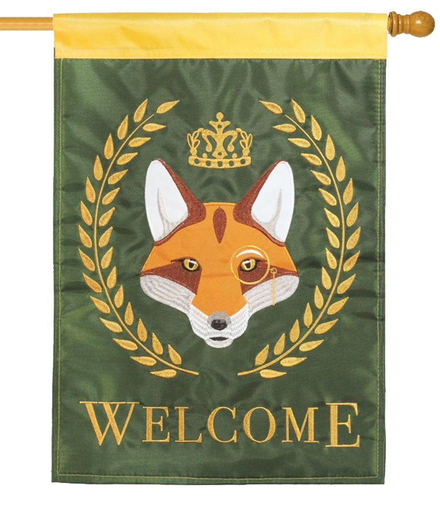 Fox Crown Welcome Double Applique House Flag