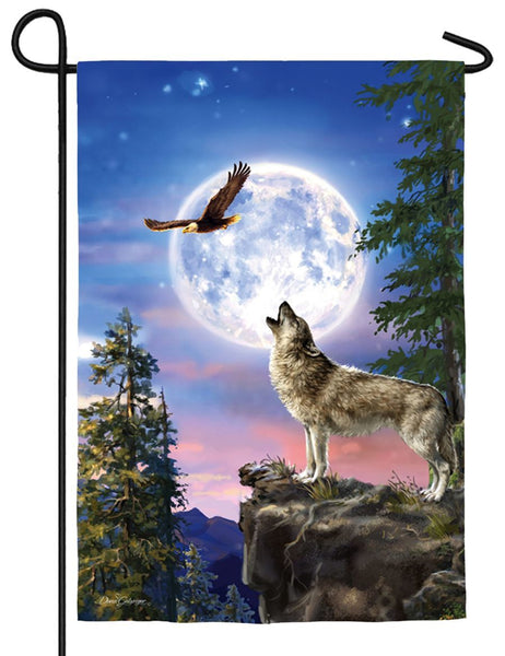 Full Moon Wolf Suede Reflections Garden Flag - All Decorative Flags/Themes/Animal Flags/Wildlife - Other Animal Flags - I AmEricas Flags