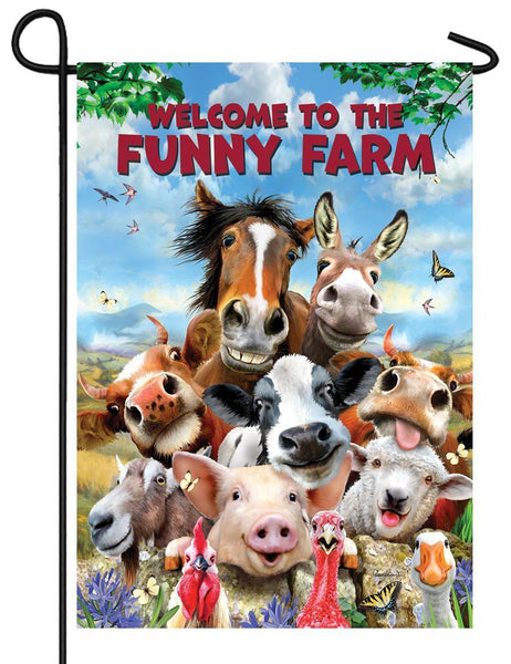 Funny Farm Welcome Garden Flag - All Decorative Flags/Themes/Animal Flags/Farm Animal Flags - I AmEricas Flags