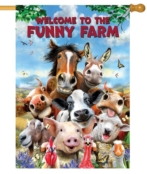 Funny Farm Welcome House Flag - All Decorative Flags/Themes/Animal Flags/Farm Animal Flags - I AmEricas Flags
