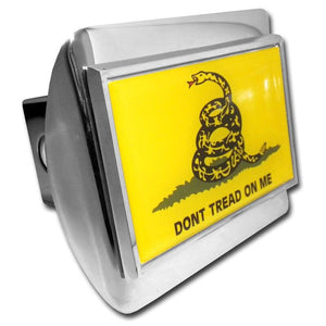 Gadsden Don't Tread On Me Flag Shiny Chrome Hitch Cover