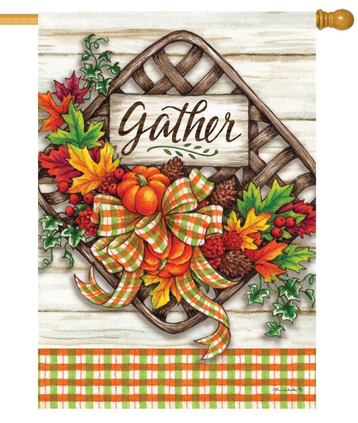 Gather Basket House Flag