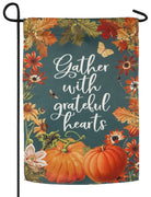 Gather With Grateful Hearts Suede Reflections Garden Flag