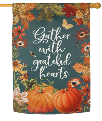 Gather With Grateful Hearts Suede Reflections House Flag