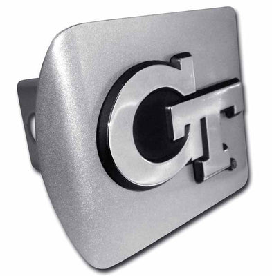 Georgia Tech Interlocking GT Brushed Chrome Hitch Cover