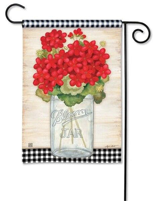 Geranium Jar and Plaid Garden Flag