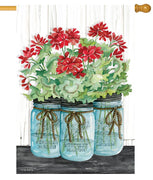 Geranium Mason Jars House Flag