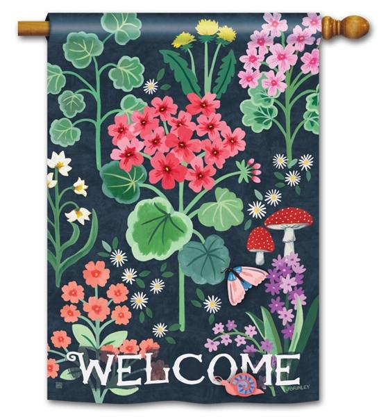 Geranium Welcome House Flag - I AmEricas Flags