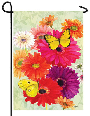 Gerberas and Butterflies Garden Flag