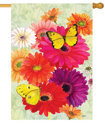 Gerberas and Butterflies House Flag