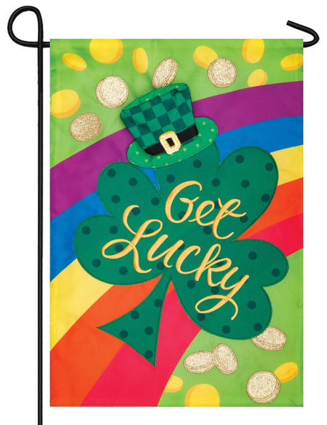 Get Lucky Double Applique Garden Flag - All Decorative Flags/Holidays/St. Patrick's Day Flags - I AmEricas Flags