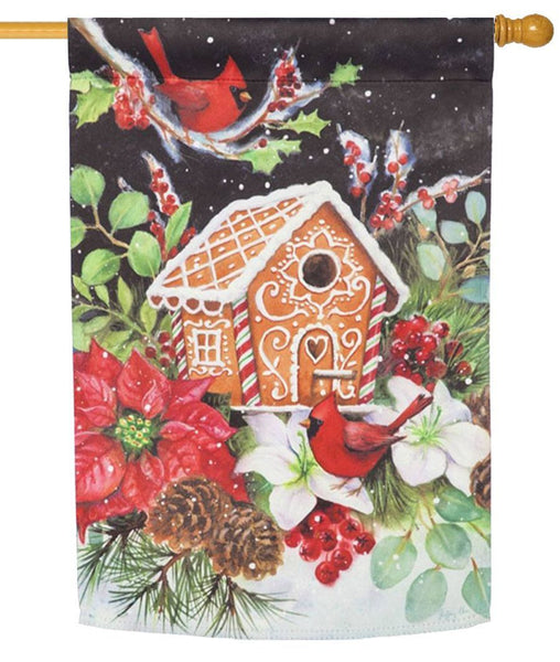 Gingerbread Birdhouse Suede Reflections House Flag - All Decorative Flags/Holidays/Christmas Flags - I AmEricas Flags