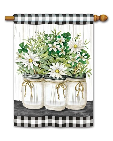 Gingham Farmhouse Daisies House Flag