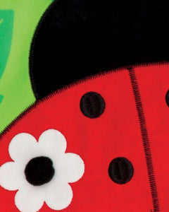Gingham Ladybug Double Applique Garden Flag Detail 1