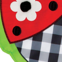 Gingham Ladybug Double Applique Garden Flag Detail 3