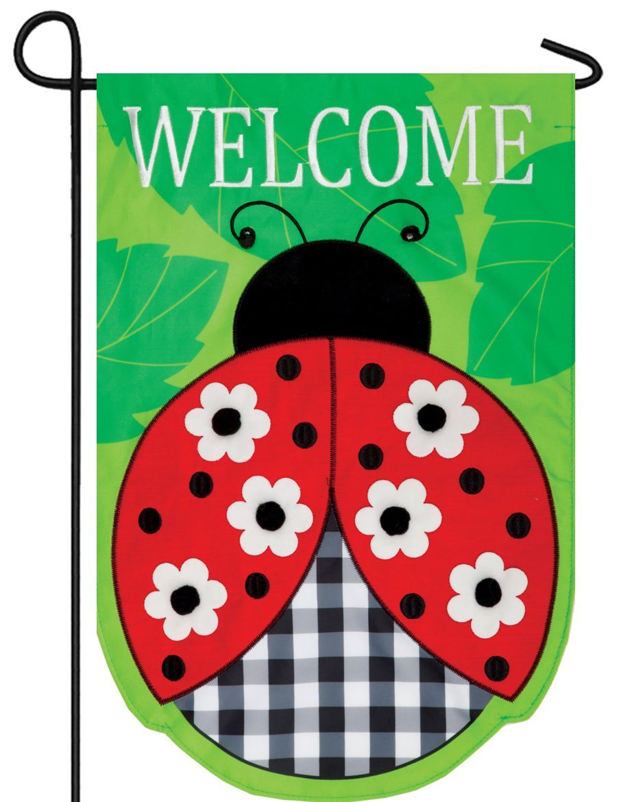 Gingham Ladybug Double Applique Garden Flag