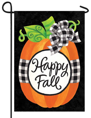Gingham Pumpkin Happy Fall Garden Flag