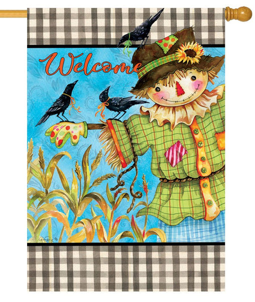 Gingham Scarecrow House Flag - I AmEricas Flags
