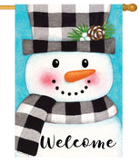 Gingham Snowman House Flag