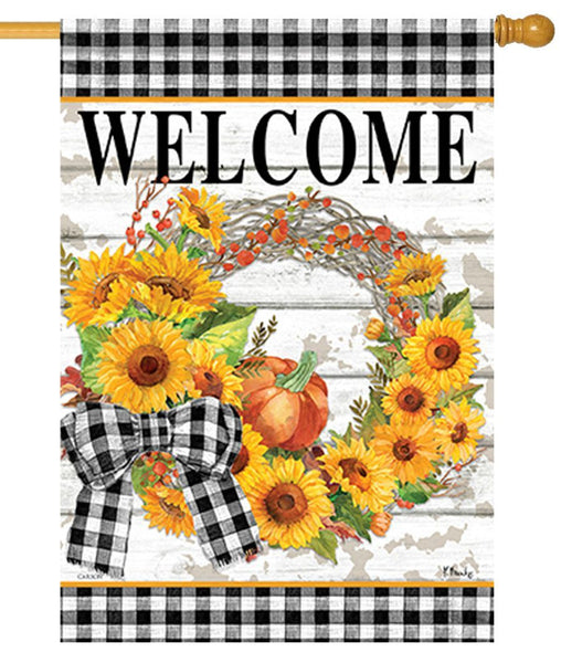 Gingham Sunflower Wreath House Flag