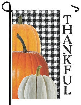 Gingham Thankful Garden Flag