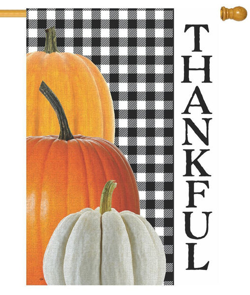 Gingham Thankful House Flag