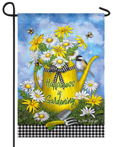 Gingham Watering Can Suede Reflections Garden Flag