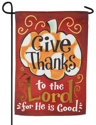 Give Thanks to the Lord Embellished Suede Garden Flag