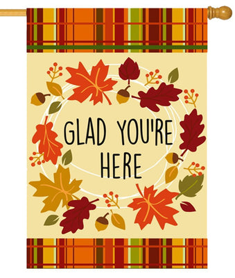 Glad You're Here Suede Reflections House Flag