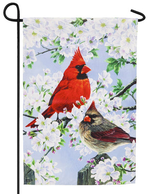 Glorious Morning Cardinals Suede Reflections Garden Flag