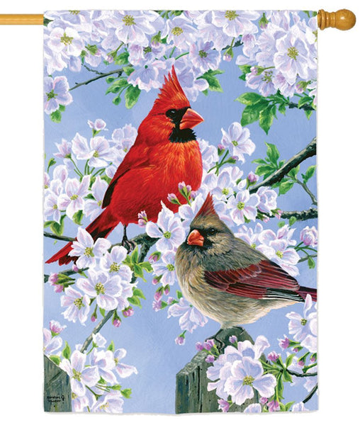 Glorious Morning Cardinals Suede Reflections House Flag - All Decorative Flags/Themes/Bird Flags/Cardinals - I AmEricas Flags