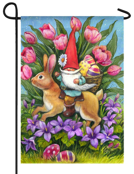 Gnome Riding Bunny Suede Reflections Garden Flag
