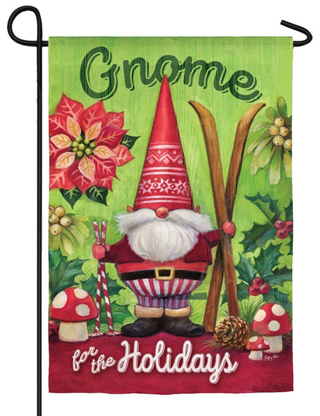 Gnome for the Holidays Suede Reflections Garden Flag