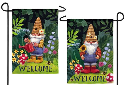 Gnome in the Garden 2 Sided Suede Reflections Garden Flag