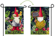 Gnomes in the Garden 2 Sided Suede Reflections Garden Flag