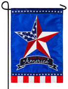 God Bless America Star Applique Garden Flag