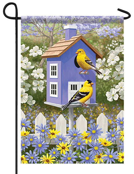 Goldfinch Birdhouse and Daisies Garden Flag